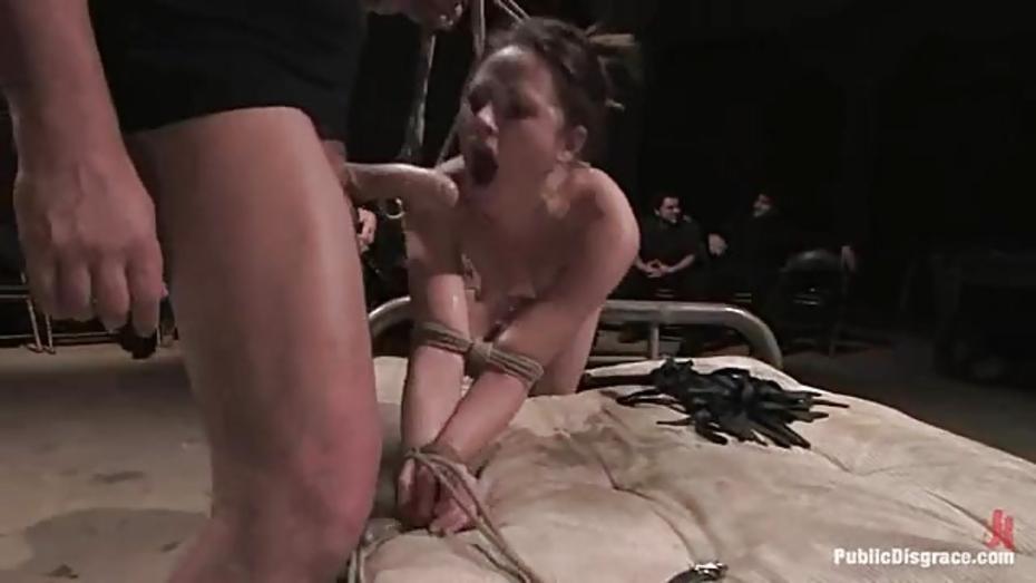 Tied Up Brunette Wraps Her Juicy Moist Lips Round A Stiff Throbbing Fuck Stick Fux