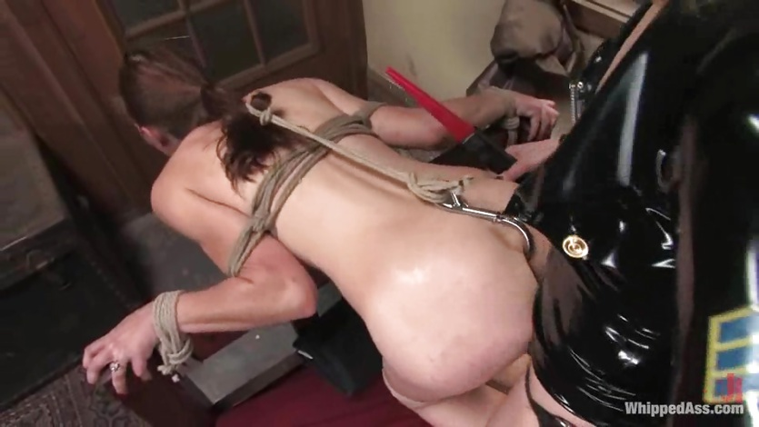 Filthy slut slave gets a meat hook up her ass and gets fucked by a big strap on