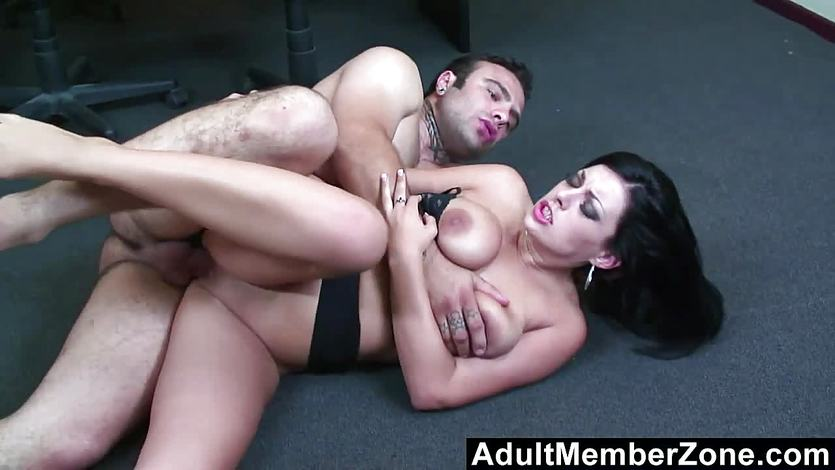 Adultmemberzone busty lady gets a big load on her melons 8