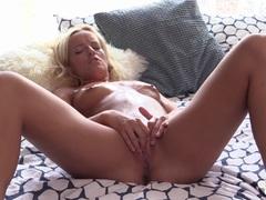 Horny Czech blonde masturbates sensually
